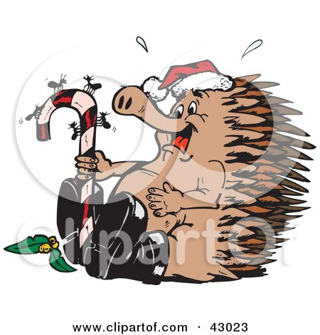 Clipart Illustration of a Christmas Echidna Watching Ants On A Candy Cane by Dennis Holmes Designs