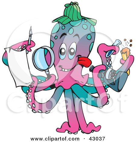 Clipart Illustration of a Multi Tasking Scientist Octopus Conducting Research by Dennis Holmes Designs