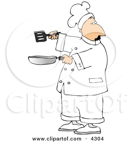 Male Chef Holding A Skillet And Spatula Clipart