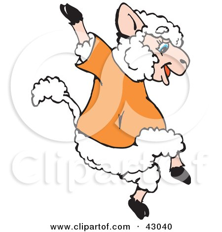 Happy Jumping Sheep In An Orange Shirt By Dennis Holmes Designs