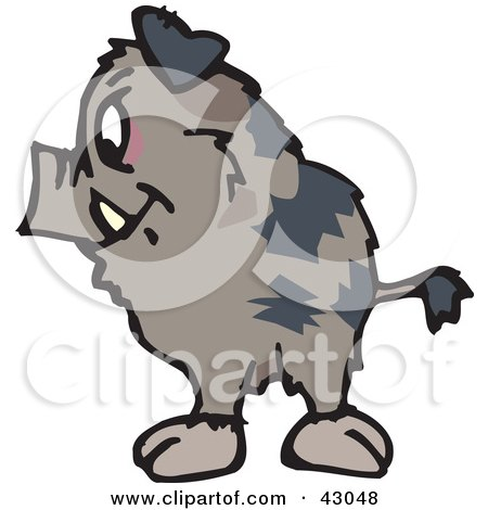 Clipart Illustration of a Wild Brown Pig by Dennis Holmes Designs