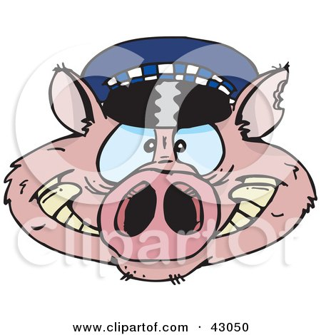 Clipart Illustration of a Police Cop Pig Face by Dennis Holmes Designs