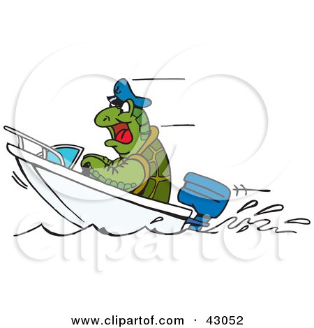 Clipart Illustration of a Sea Turtle Driving a Boat by Dennis Holmes Designs