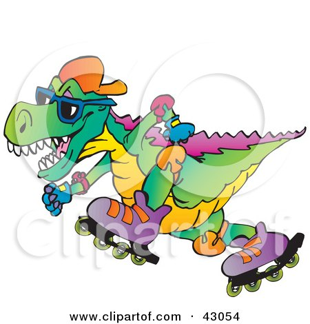 Clipart Illustration of a Colorful Roller Blading T Rex by Dennis Holmes Designs