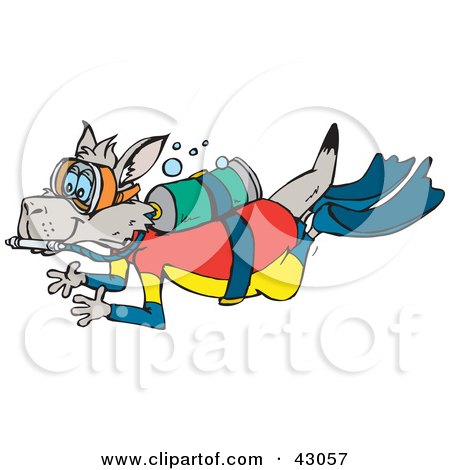Clipart Illustration of a Kangaroo Scuba Diving With Oxygen by Dennis Holmes Designs