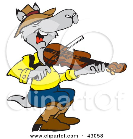 Clipart Illustration of a Kangaroo Playing a Violin by Dennis Holmes Designs