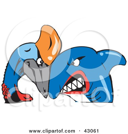 Clipart Illustration of a Shark And Cassowary Bird Butting Heads by Dennis Holmes Designs