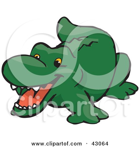 Clipart Illustration of a Cute And Happy Green Crocodile by Dennis Holmes Designs