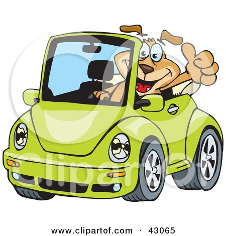 Clipart Illustration of a Dog Driving A Green Slug Bug Convertible And Giving The Thumbs Up by Dennis Holmes Designs