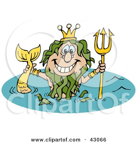 Mermaid King Neptune Holding Up His Trident In Water Posters, Art Prints