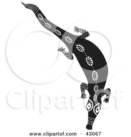 Clipart Illustration of a Black And White Aboriginal Crocodile Design by Dennis Holmes Designs