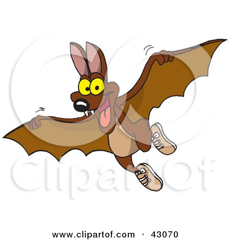 Clipart Illustration of a Cute Flying Brown Bat by Dennis Holmes Designs