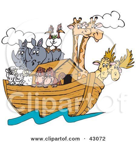 Clipart Illustration of Birds, Rhinos, Elk, Sheep, Monkeys And Giraffes On Noah's Ark by Dennis Holmes Designs