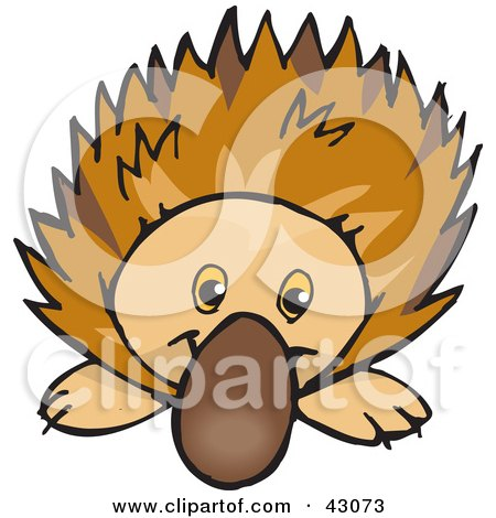 Clipart Illustration of a Cute And Curious Echidna Spiny Anteater by Dennis Holmes Designs