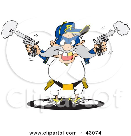 Clipart Illustration of a Male Bandit Shooting Pistils by Dennis Holmes Designs