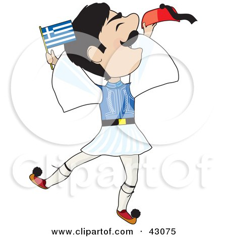 Clipart Illustration of an Energetic Greek Evzone Dancing And Waving A Greek Flag by Maria Bell