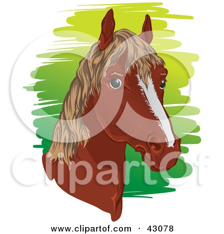 Clipart Illustration of a Brown Horse Head With A Short Mane by Paulo Resende