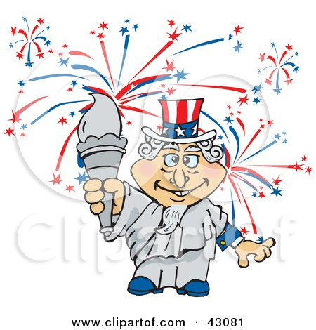 Clipart Illustration of Uncle Sam As The Statue Of Liberty, Holding The Torch In Front Of Fireworks by Dennis Holmes Designs