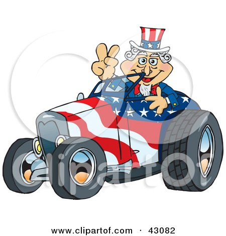 Clipart Illustration of Uncle Sam Driving A Patriotic Roadster And Giving The Peace Sign by Dennis Holmes Designs
