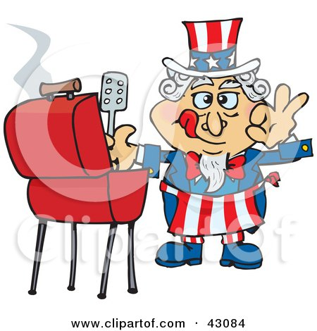 Clipart Illustration of Uncle Sam Cooking On A Bbq Grill by Dennis Holmes Designs