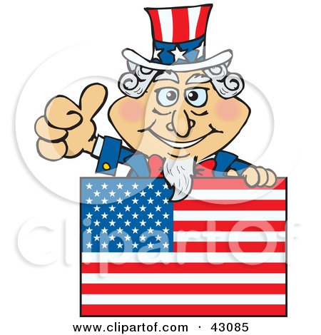 Clipart Illustration of Uncle Sam Giving The Thumbs Up And Standing Behind A Flag by Dennis Holmes Designs
