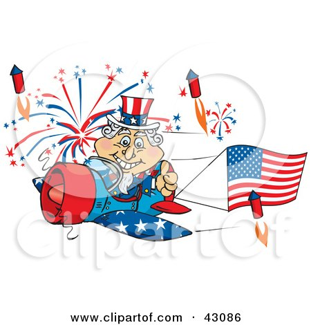 Clipart Illustration of Uncle Sam Flying A Plane With A Flag Banner, Surrounded By Independence Day Fireworks by Dennis Holmes Designs