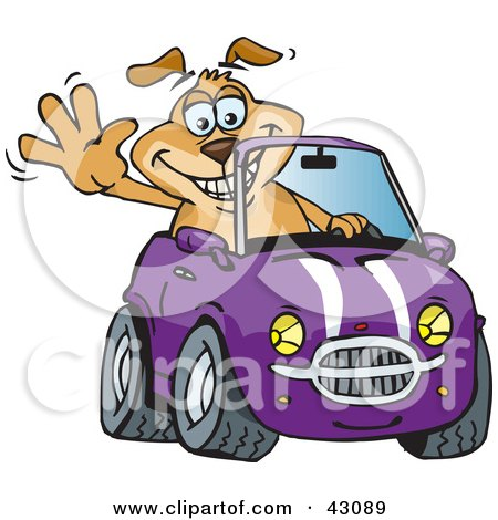 Clipart Illustration of a Happy Waving Dog Driving A Purple Convertible Car by Dennis Holmes Designs