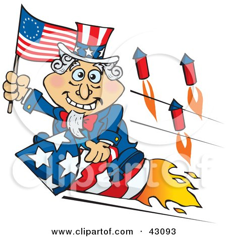 Clipart Illustration of Uncle Sam Waving A Flag And Riding A Rocket On Independence Day by Dennis Holmes Designs