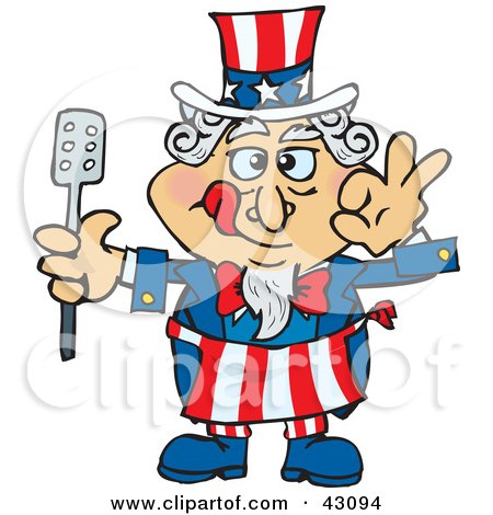 Clipart Illustration of an Uncle Sam Chef Licking His Lips And Holding A Spatula by Dennis Holmes Designs