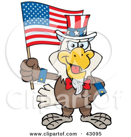 Clipart Illustration of a Patriotic Uncle Sam Bald Eagle Waving An American Flag On Independence Day by Dennis Holmes Designs