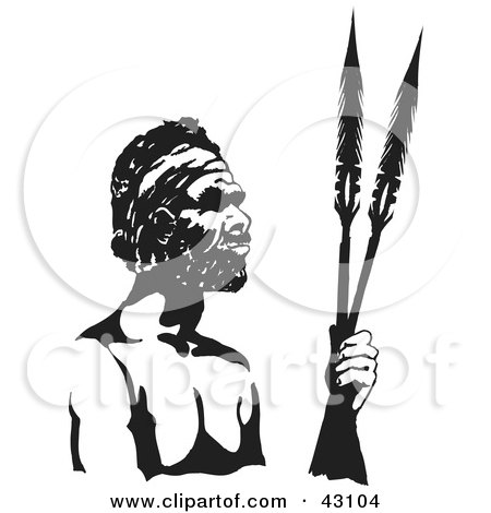 Clipart Illustration of a Black And White Aboriginal Man Holding Spears by Dennis Holmes Designs