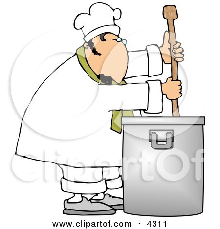 Male Chef Stirring a Large Pot of Soup with a Spoon Clipart by djart