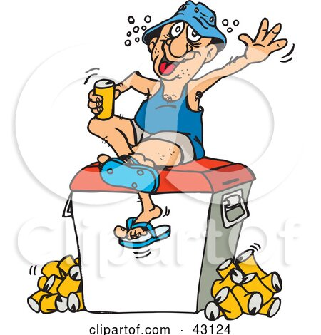Clipart Illustration of a Drunk Man Sitting On A Cooler And Drinking Beer by Dennis Holmes Designs