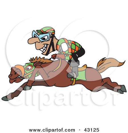 Clipart Illustration of a Grinning Jockey Riding Low On Horseback by Dennis Holmes Designs