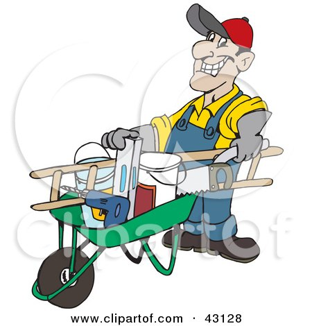 Clipart Illustration of a Friendly Handy Man Pushing Tools In A Wheel Barrow by Dennis Holmes Designs