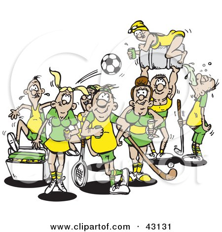 Clipart Illustration of a Group Of Athletes In Yellow And Green Uniforms by Dennis Holmes Designs
