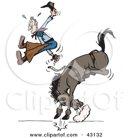 Cowboy Suspended In Mid Air While Being Bucked Off Of His Rodeo Horse Posters, Art Prints