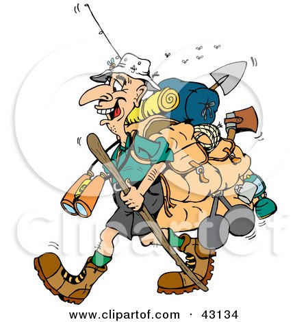 Clipart Illustration of a Stinky Hiker Carrying Camping Gear And A Walking Stick by Dennis Holmes Designs