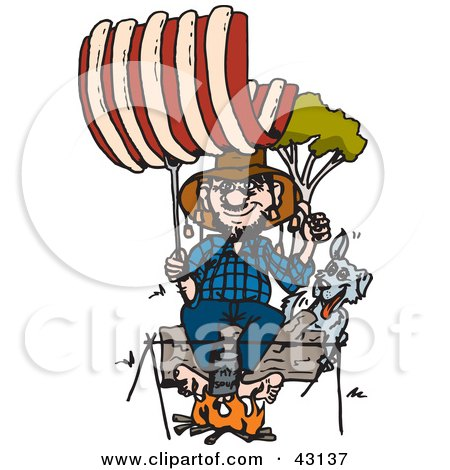Clipart Illustration of a Camping Man And Dog Roasting Giant Ribs Over A Fire by Dennis Holmes Designs