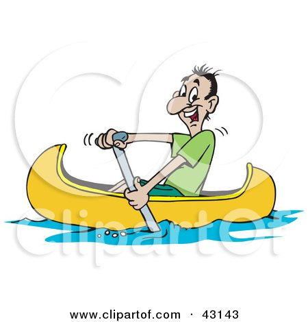 Clipart Illustration of a Happy Man Paddling His Yellow Canoe by Dennis Holmes Designs