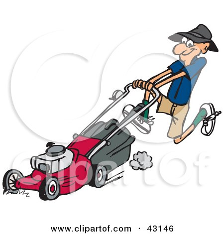 Clipart Illustration of a Hyper Man Running And Pushing A Red Lawn Mower by Dennis Holmes Designs