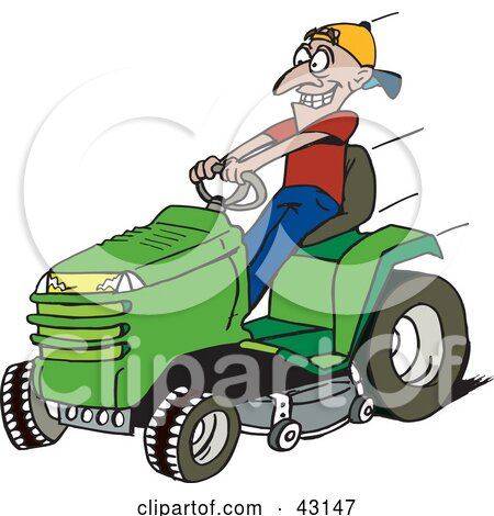 Clipart Illustration of a Man Driving A Fast Green Riding Lawn Mower by Dennis Holmes Designs
