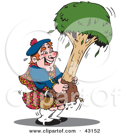 Clipart Illustration of a Scottish Man In A Kilt, Carrying A Tree by Dennis Holmes Designs