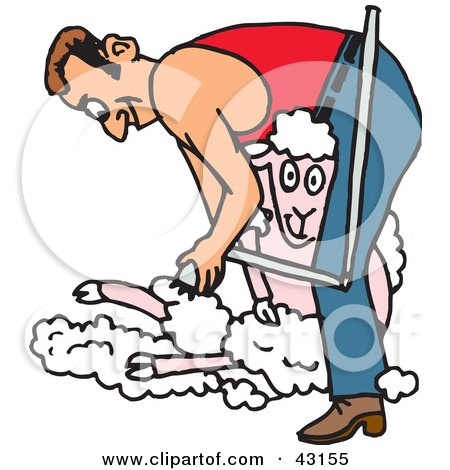 Clipart Illustration of a Man Shearing A Happy Sheep by Dennis Holmes Designs