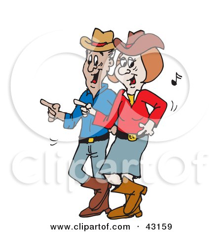 Clipart Illustration of a Happy Couple Line Dancing To Country Music by Dennis Holmes Designs