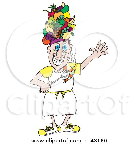 Clipart Illustration of a Chef Wearing A Fruit Hat And Holding A Bbq Shrimp On A Fork by Dennis Holmes Designs