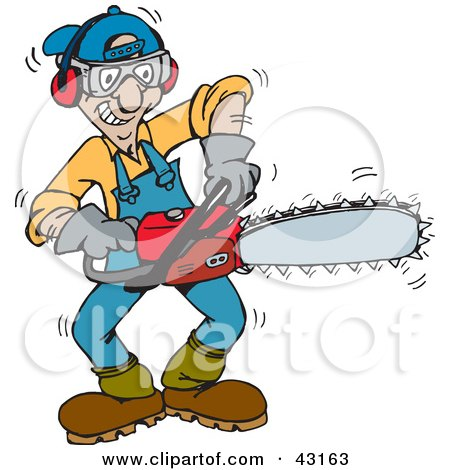 Clipart Illustration of a Tree Trimmer Starting Up His Chainsaw by Dennis Holmes Designs