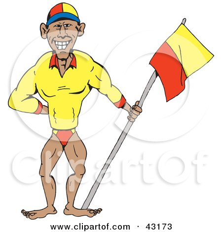 Clipart Illustration of a Professional Swimmer Or Bodybuilder Holding A Flag by Dennis Holmes Designs