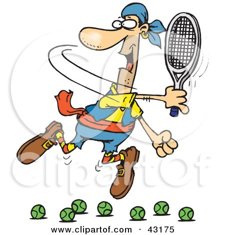 Clipart Illustration of a Motivated Man Trying To Hit A Tennis Ball, Failing Over And Over Again by Dennis Holmes Designs