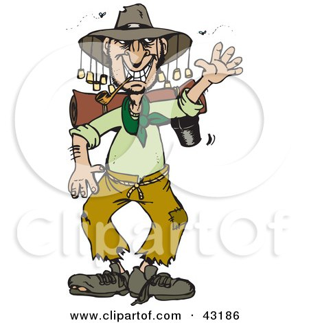 Clipart Illustration of a Stinky Homeless Australian Man Waving by Dennis Holmes Designs